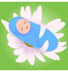 Sleeping babe in daisy vector