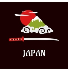 Japan fuji mountain and samurai sword vector