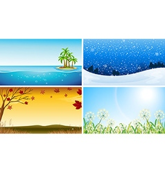 Four view of different seasons vector image