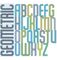 Retro colorful geometric font with parallel triple vector image