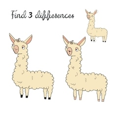 Find differences kids layout for game lama vector