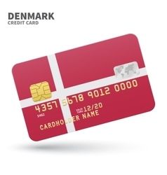 Credit card with denmark flag background for bank vector