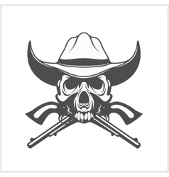 Gangster skull with cowboy hat and pistols vector