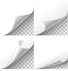 Curl paper corners set on transparent vector