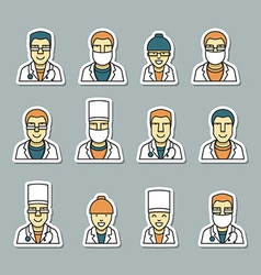 Icons doctors face medical items and drugs vector