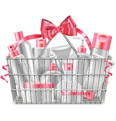 Supermarket basket with cosmetics vector