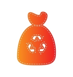 Trash bag icon orange applique isolated vector