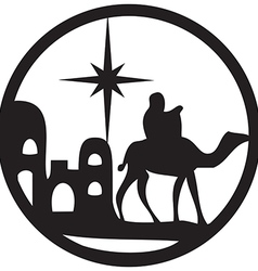 Adoration of the Magi silhouette icon black white vector image