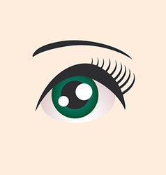 Beautiful green female eye on beige background vector image