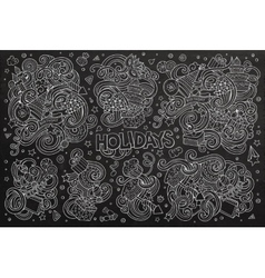 Chalkboard set of holidays objects vector
