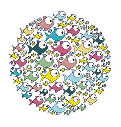 Colorful circular pattern fish aquatic animal vector