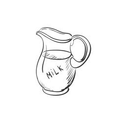 doodle jug of milk vector image