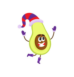 funny avocado character in winter hat and mittens vector image
