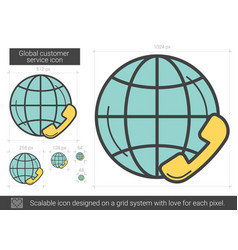 Global customer service line icon vector