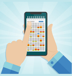 hand holding smartphone with calendar on a screen vector image vector image