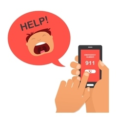 Hand press emergency number 911 on a mobile phone vector