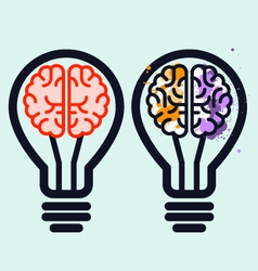 Light bulb with brain and blots inside vector image vector image