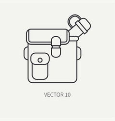 Line flat hunt and camping icon jar bottle vector