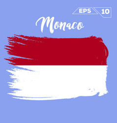 Monaco flag brush strokes painted vector