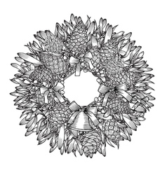 Monochrome Christmas wreath vector image vector image