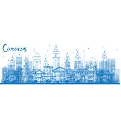 Outline caracas skyline with blue buildings vector
