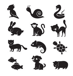 pets and home animals icons vector image vector image