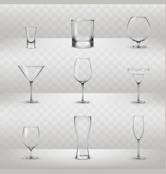 Set of glasses for alcohol and other drinks vector