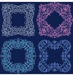 Set of mono line flourish vintage frame vector image vector image