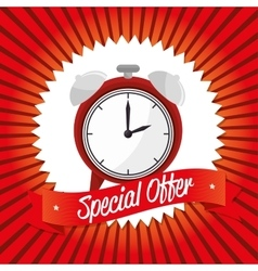 Special offer clock banner design vector
