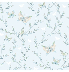 spring pattern butterflies vector image