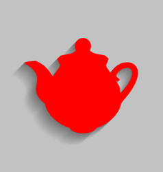 tea maker kitchen sign red icon with soft vector image vector image