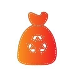 Trash bag icon Orange applique isolated vector image vector image