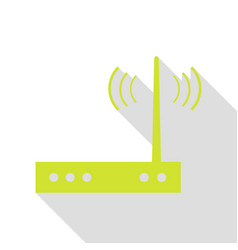Wifi modem sign pear icon with flat style shadow vector