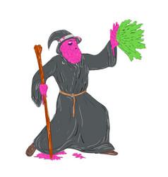 Wizard casting spell grime art vector