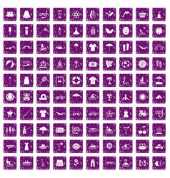 100 summer icons set grunge purple vector