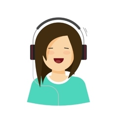 Happy young girl listening music in headphones vector