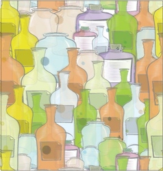Water color bottles seamless vector image