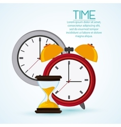 Traditional clock and hourglass design vector