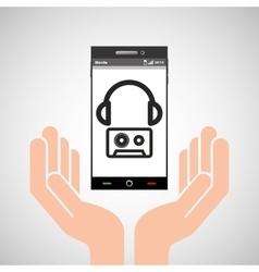 hand mobile phone headphone cassette music vector image