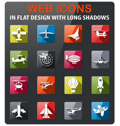 Air transport icon set vector
