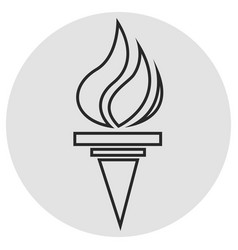 Burning torch line icon simple icon on dark grey vector