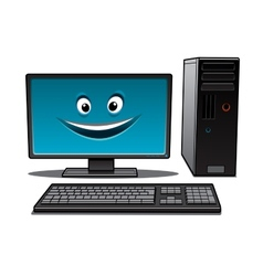 Happy cartoon desktop computer vector image