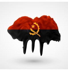 Flag of angola painted colors vector
