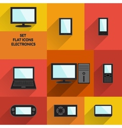 Set of flat icons electronics technology and vector