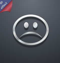 Sad face sadness depression icon symbol 3d style vector