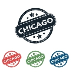 Round chicago city stamp set vector