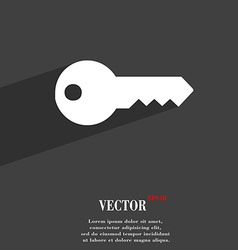 Key icon symbol flat modern web design with long vector