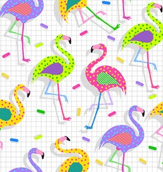 Retro 80s flamingo pattern background vector