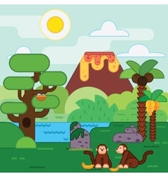 Island jungle tropical landscape vector