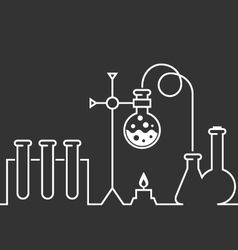Chemical laboratory - test-tubes and flasks vector image